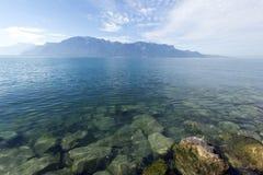 Λίμνη Γενεύη που βλέπει από Vevey Στοκ Φωτογραφίες