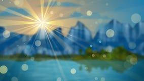 Λίμνη και βουνά από την εστίαση Στοκ Εικόνες