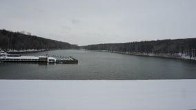 Λίμνη και δάσος το χειμώνα Στοκ Εικόνες