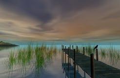Λίμνη και ξύλινη αποβάθρα επάνω σε αργά το απόγευμα, τρισδιάστατη απόδοση Στοκ Φωτογραφίες