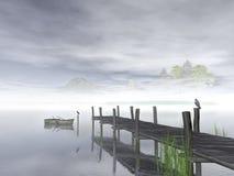 Λίμνη και ξύλινη αποβάθρα επάνω σε αργά το απόγευμα, τρισδιάστατη απόδοση Στοκ φωτογραφία με δικαίωμα ελεύθερης χρήσης