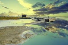 Λίμνη καλλιέργειας γαρίδων σε Satkhira Στοκ Εικόνες
