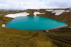 Λίμνη κρατήρων στο ηφαίστειο Krafla Στοκ Φωτογραφία