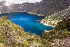 Λίμνη κρατήρων Quilotoa, Ισημερινός Στοκ Φωτογραφίες
