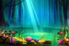 Λίμνη μέσα στο βαθύ δάσος διανυσματική απεικόνιση