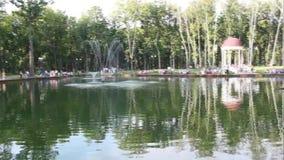 Λίμνη με μια πηγή στο κεντρικό πάρκο Kharkiv φιλμ μικρού μήκους
