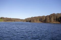 Λίμνη με το περιβάλλον τοπίο των δέντρων και των λόφων στοκ εικόνες