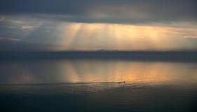 λίμνη ομίχλης πέρα από το trasimeno στοκ εικόνες