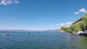 Λίμνη Οχρίδα εκκλησιών του Jovan Kaneo απόθεμα βίντεο