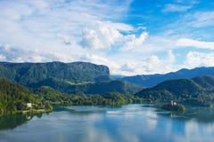 Λίμνη πανοράματος που αιμορραγείται Ευρώπη, Σλοβενία, Στοκ εικόνα με δικαίωμα ελεύθερης χρήσης