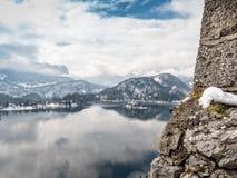 Λίμνη που αιμορραγείται με την εκκλησία του ST Mary ` s, Σλοβενία Στοκ Φωτογραφία