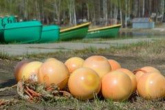 Λίμνη, σημαντήρες στην ακτή σε έναν σωρό Η έννοια της προετοιμασίας για τις καλοκαιρινές διακοπές στοκ εικόνα με δικαίωμα ελεύθερης χρήσης
