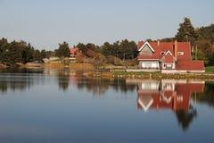 λίμνη σπιτιών πλησίον Στοκ Εικόνα