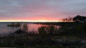 Λίμνη στο ηλιοβασίλεμα Στοκ Εικόνα