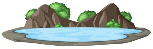 Λίμνη στο τοπίο φύσης διανυσματική απεικόνιση