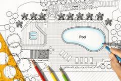 Λίμνη σχεδίων αρχιτεκτόνων τοπίου για τη βίλα πολυτέλειας Στοκ φωτογραφίες με δικαίωμα ελεύθερης χρήσης