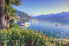 Λίμνη της Γενεύης στο Μοντρέ, Vaud, Ελβετία Στοκ εικόνες με δικαίωμα ελεύθερης χρήσης