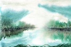 Λίμνη τοπίων Watercolor πριν από την ανατολή Απεικόνιση αποθεμάτων