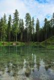 Λίμνη Ghedina από την πλευρά Ουρανός, δέντρα και σαφές νερό Στοκ Φωτογραφίες