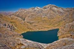 Λίμνη Harris από τον κωνικό λόφο στη διαδρομή Routeburn στη Νέα Ζηλανδία στοκ φωτογραφία με δικαίωμα ελεύθερης χρήσης