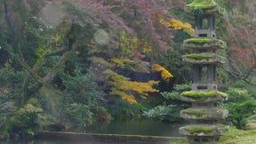 Λίμνη Kasumiga-kasumiga-ike στον κήπο Kenrokuen σε Kanazawa απόθεμα βίντεο