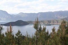 λίμνη lugu στην Κίνα πέρα από τα δέντρα πεύκων Στοκ εικόνα με δικαίωμα ελεύθερης χρήσης