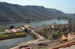Λίμνη Maota, ηλέκτρινο οχυρό ή παλάτι, nr Jaipur, Ινδία Στοκ Φωτογραφίες