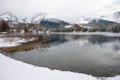 Λίμνη Pleso Strbske το χειμώνα σε υψηλό Tatras, Σλοβακία Στοκ Εικόνες
