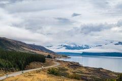 Λίμνη Punkaki κοντά σε Aoraki/Mt Εθνικό πάρκο μαγείρων, Νέα Ζηλανδία στοκ εικόνες