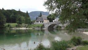 Λίμνη slovenie 100647 Bohinj άποψης απόθεμα βίντεο