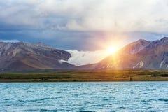 Λίμνη Tekapo στο ηλιοβασίλεμα Στοκ φωτογραφία με δικαίωμα ελεύθερης χρήσης