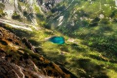 Λίμνη Zelene Pleso στα υψηλά βουνά tatras, Σλοβακία Στοκ Φωτογραφίες