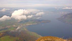 Λίμνη Zug που βλέπει από το βουνό Rigi, Ελβετία φιλμ μικρού μήκους