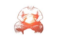 Λίπος, άτομο, υπέρβαρος, ανθυγειινός, έννοια κοιλιών Συρμένο χέρι απομονωμένο διάνυσμα ελεύθερη απεικόνιση δικαιώματος