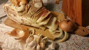Λίπος χοίρων με τα κρεμμύδια στοκ φωτογραφίες με δικαίωμα ελεύθερης χρήσης