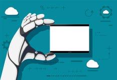 Λαβή ρομπότ στο χέρι του μια συσκευή τεχνολογίας με μια άσπρη οθόνη ελεύθερη απεικόνιση δικαιώματος
