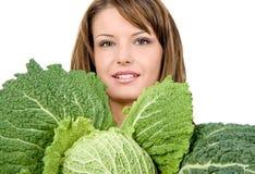Λαβή στο φρέσκο κατσαρό λάχανο Στοκ εικόνα με δικαίωμα ελεύθερης χρήσης