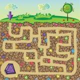 Λαβύρινθος για τα παιδιά - φύση, πέτρες και πολύτιμοι λίθοι κάτω από το έδαφος Στοκ φωτογραφία με δικαίωμα ελεύθερης χρήσης