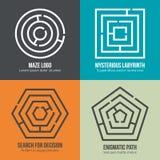 Λαβύρινθος, διανυσματικό σύνολο σχεδίου λογότυπων μορφής λαβυρίνθου απεικόνιση αποθεμάτων