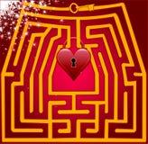Λαβύρινθος καρτών της αγάπης. Ημέρα βαλεντίνων Στοκ φωτογραφία με δικαίωμα ελεύθερης χρήσης