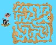 Λαβύρινθος παιδιών ` s Χάρτης θησαυρών πειρατών Παιχνίδι γρίφων για τα παιδιά, διανυσματική απεικόνιση ελεύθερη απεικόνιση δικαιώματος