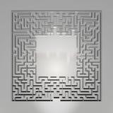 Λαβύρινθος στο γκρίζο υπόβαθρο Έννοια για τη λήψη αποφάσεων Στοκ Εικόνα
