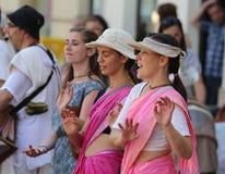 Λαγοί Krishna/χορός και τραγουδώντας στοκ φωτογραφία με δικαίωμα ελεύθερης χρήσης