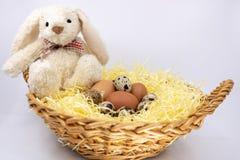 Λαγουδάκι Πάσχας και το καλάθι του ορτυκιών αγροτικών αυγών και αυγών κοτόπουλου στοκ φωτογραφία με δικαίωμα ελεύθερης χρήσης