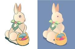 Λαγουδάκι Πάσχας με ένα καλάθι των χρωματισμένων αυγών Πάσχας Αυτοκόλλητη ετικέττα ή απεικόνιση σχεδίου Στοκ Εικόνες