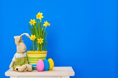 Λαγουδάκι Πάσχας με τα κίτρινα daffodils και τα αυγά Πάσχας που απομονώνονται επάνω Στοκ Φωτογραφίες
