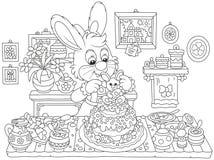 Λαγουδάκι που μαγειρεύει ένα κέικ Πάσχας Στοκ Εικόνες