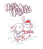 Λαγουδάκι χαρακτήρα φιλιών σκίτσων ύφους καρτών Χριστουγέννων doodle ελεύθερη απεικόνιση δικαιώματος