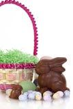 Λαγουδάκια και καλάθι Πάσχας σοκολάτας Στοκ εικόνα με δικαίωμα ελεύθερης χρήσης