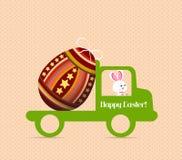 Λαγουδάκι αυγών Πάσχας που φέρνει ένα αυγό στο αυτοκίνητο διανυσματική απεικόνιση